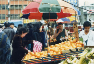 People buying fruit in Taiwan.