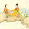 """""""Two Girls by the Lake,"""" painting by Willow Zheng."""